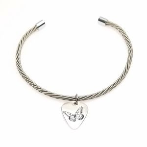 Silver Tone Twisted Wire Butterfly Pendant Choker